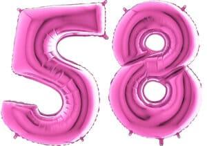 Luftballon Zahl 58 Zahlenballon pink (66 cm)