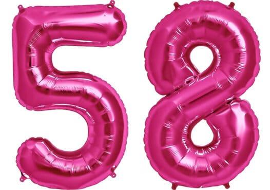 Luftballon Zahl 58 Zahlenballon pink (86 cm)