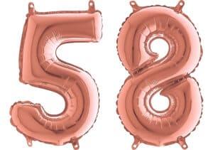 Luftballon Zahl 58 Zahlenballon rosegold (66 cm)