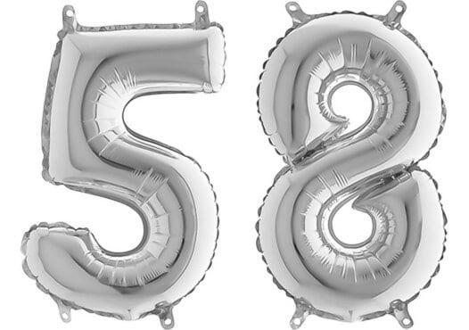 Luftballon Zahl 58 Zahlenballon silber (66 cm)