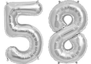 Luftballon Zahl 58 Zahlenballon silber (86 cm)