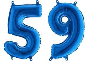 Luftballon Zahl 59 Zahlenballon blau (66 cm)