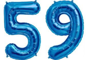 Luftballon Zahl 59 Zahlenballon blau (86 cm)