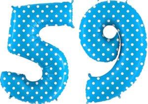 Luftballon Zahl 59 Zahlenballon blau mit weißen Punkten (100 cm)
