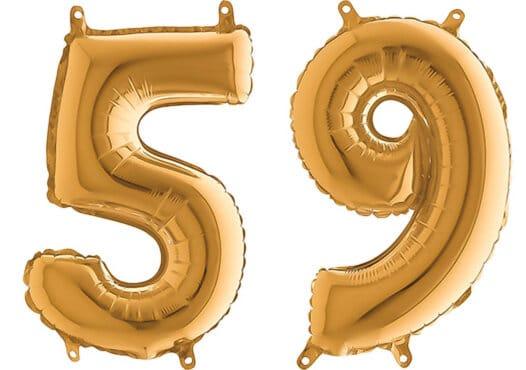 Luftballon Zahl 59 Zahlenballon gold (66 cm)