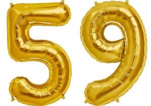 Luftballon Zahl 59 Zahlenballon gold (86 cm)