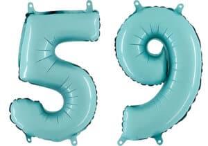 Luftballon Zahl 59 Zahlenballon pastell-blau (100 cm)