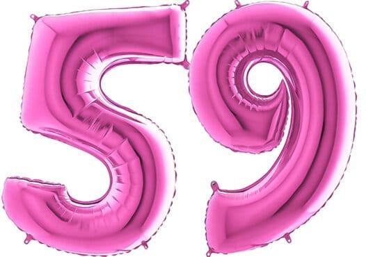 Luftballon Zahl 59 Zahlenballon pink (66 cm)