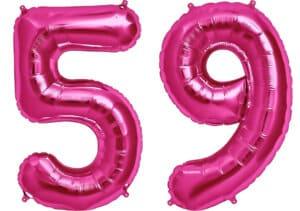 Luftballon Zahl 59 Zahlenballon pink (86 cm)
