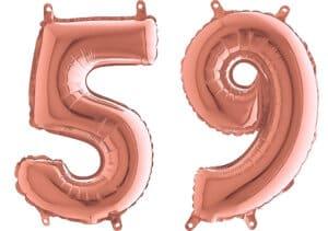 Luftballon Zahl 59 Zahlenballon rosegold (66 cm)