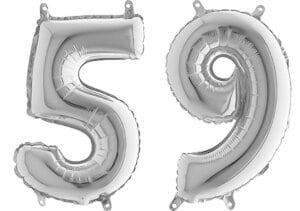Luftballon Zahl 59 Zahlenballon silber (66 cm)