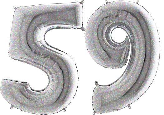 Luftballon Zahl 59 Zahlenballon silber-holographic (100 cm)