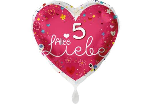 Herz Luftballon Alles Liebe Zahl 5 rot (38 cm)