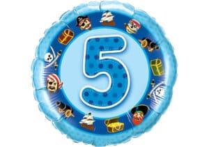 Geburtstagsluftballon mit Kindermotiven und Zahl 5 blau (38 cm)