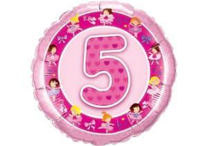 Geburtstagsluftballon mit Kindermotiven und Zahl 5 pink (38 cm)
