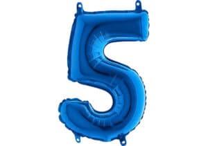 Luftballon Zahl 5 Zahlenballon blau (66 cm)