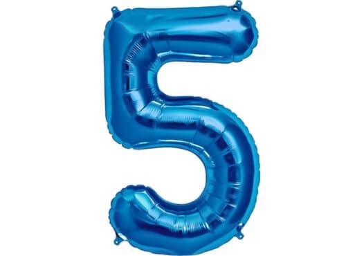 Luftballon Zahl 5 Zahlenballon blau (86 cm)