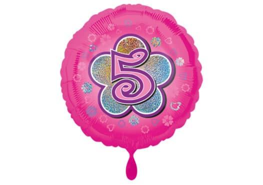 Runder Luftballon mit Blume und Zahl 5 pink (38 cm)
