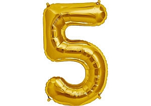 Luftballon Zahl 5 Zahlenballon gold (86 cm)