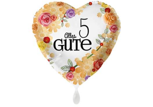 Herzluftballon mit Rosen Alles Gute Zahl 5 weiß (38 cm)