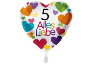 Herzluftballon mit kleinen Herzen Alles Liebe Zahl 5 weiß (38 cm)