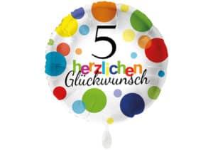 Runder Luftballon mit bunten Punkten Herzlichen Glückwunsch Zahl 5 weiß (38 cm)