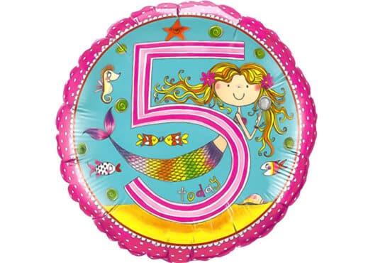Runder Luftballon mit Meerjungfrau Geburtagszahl 5 pink (38 cm)