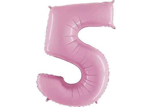 Luftballon Zahl 5 Zahlenballon pastell-pink (100 cm)
