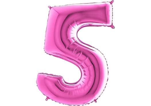 Luftballon Zahl 5 Zahlenballon pink (66 cm)