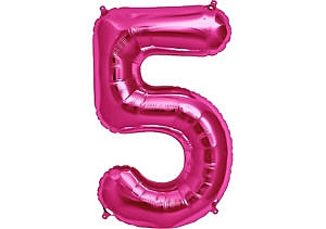 Luftballon Zahl 5 Zahlenballon pink (86 cm)