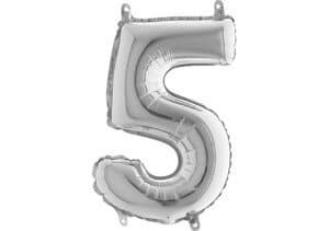 Luftballon Zahl 5 Zahlenballon silber (66 cm)