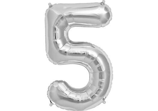 Luftballon Zahl 5 Zahlenballon silber (86 cm)