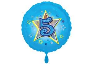 Runder Luftballon mit Stern und Zahl 5 blau (38 cm)