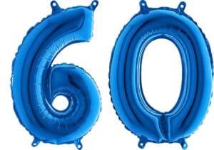 Luftballon Zahl 60 Zahlenballon blau (66 cm)