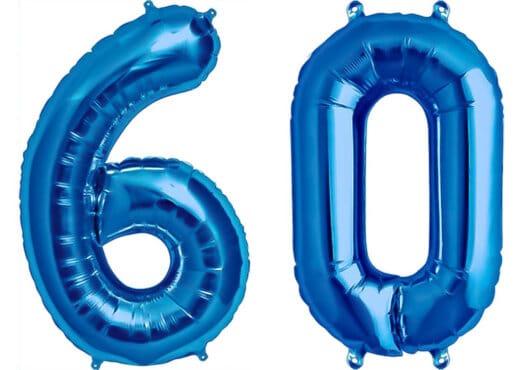 Luftballon Zahl 60 Zahlenballon blau (86 cm)