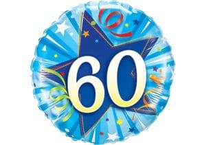 Runder Luftballon mit Stern und Zahl 60 blau (38 cm)