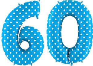 Luftballon Zahl 60 Zahlenballon blau mit weißen Punkten (100 cm)