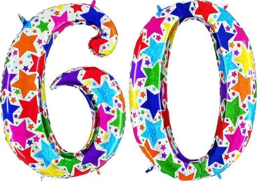 Luftballon Zahl 60 Zahlenballon silber mit bunten Sternen (100 cm)