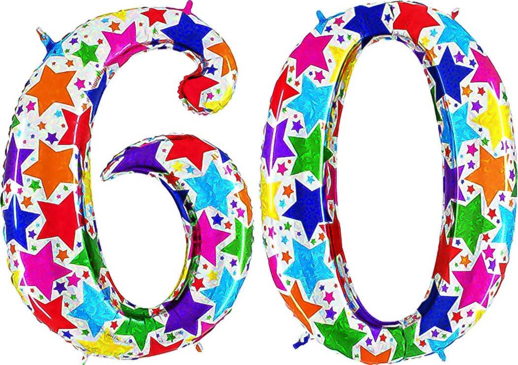 Zahl 60 Zahlen Ballon Folienballon Helium riesig bunt 100cm