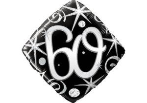 Eleganter Diamant-Luftballon mit Zahl 60 schwarz (38 cm)