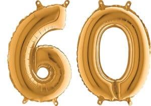 Luftballon Zahl 60 Zahlenballon gold (66 cm)