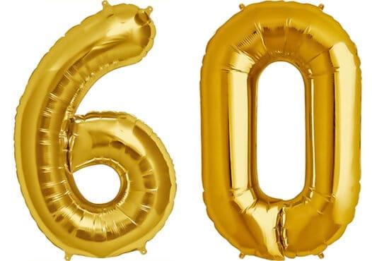 Luftballon Zahl 60 Zahlenballon gold (86 cm)