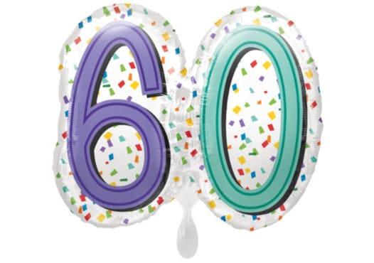 Luftballon Geburtstagszahl Zahl 60 bunt (38 cm)
