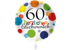 Runder Luftballon mit bunten Punkten Herzlichen Glückwunsch Zahl 60 weiß (38 cm)