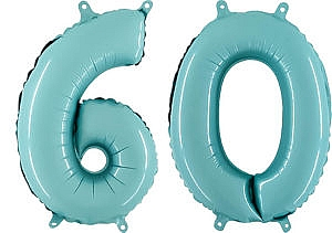 Luftballon Zahl 60 Zahlenballon pastell-blau (100 cm)