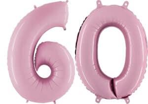 Luftballon Zahl 60 Zahlenballon pastell-pink (100 cm)