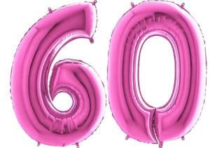 Luftballon Zahl 60 Zahlenballon pink (66 cm)