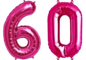 Luftballon Zahl 60 Zahlenballon pink (86 cm)