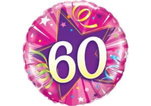 Runder Luftballon mit Stern und Zahl 60 pink (38 cm)