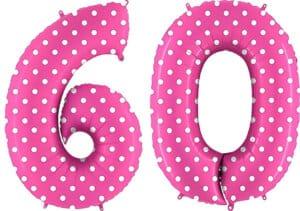 Luftballon Zahl 60 Zahlenballon pink mit weißen Punkten (100 cm)